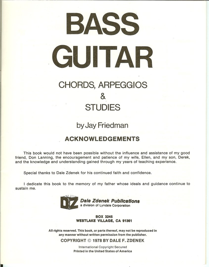 Bass Guitar Chords Arpeggios And Studies First Edition By Jay